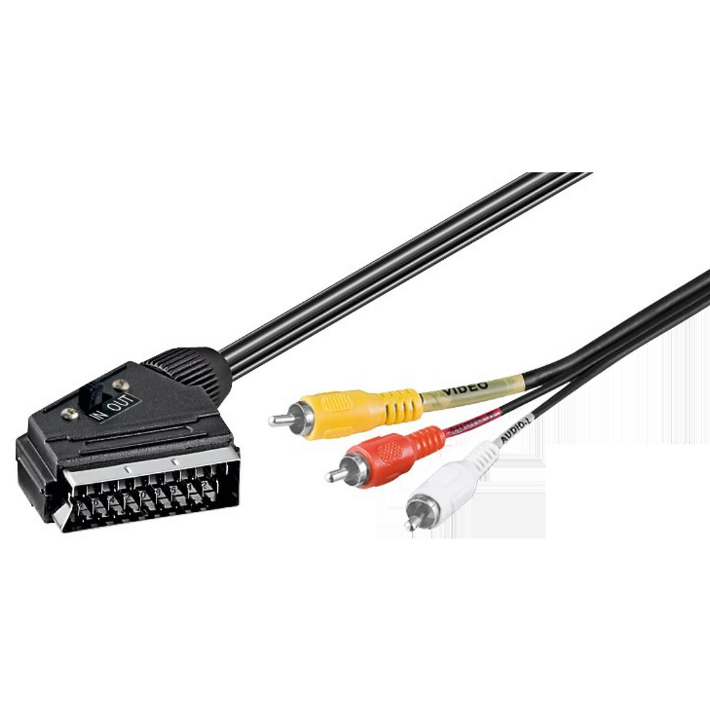 Scart - RCA (činč) kabl sa prekidačem, 1.5 met