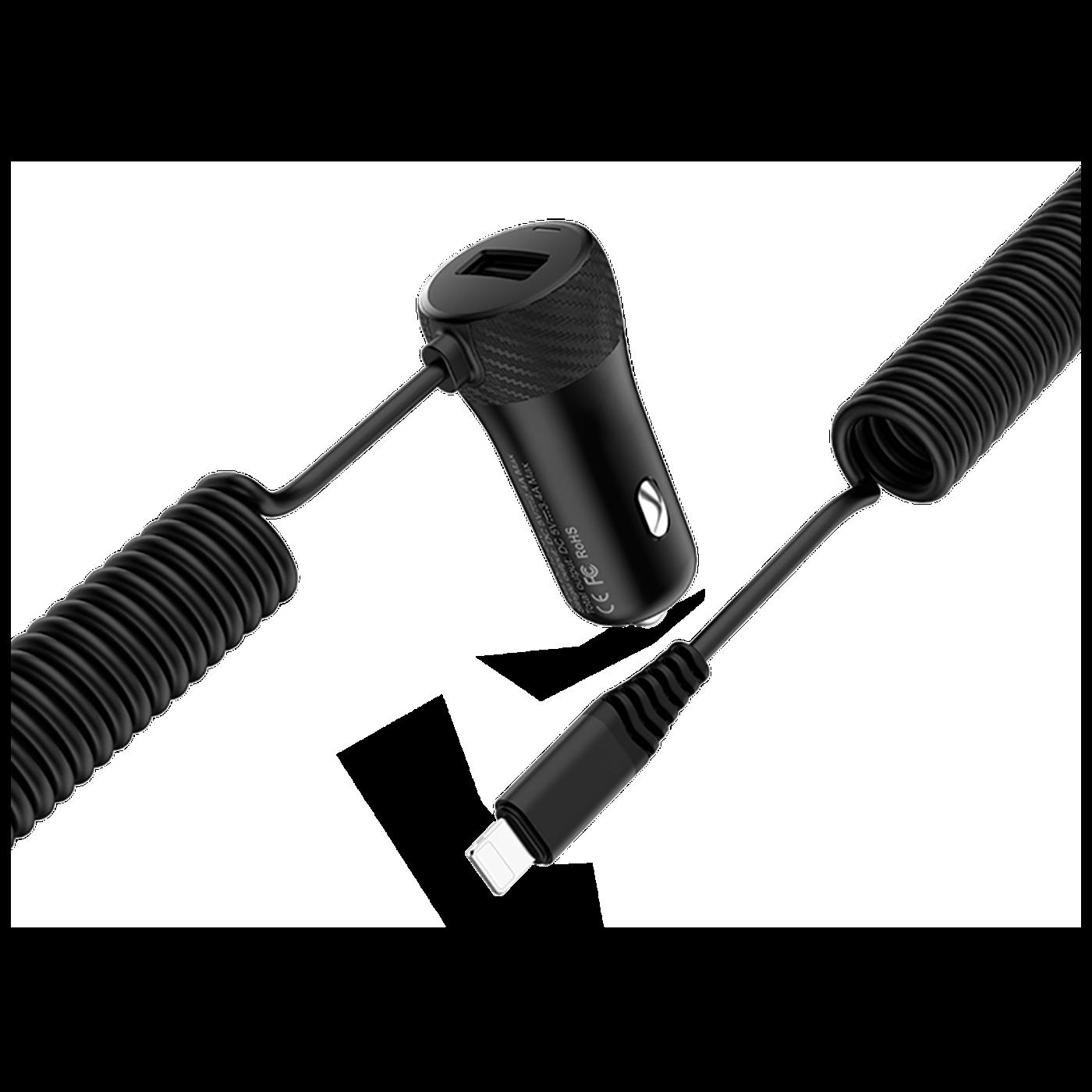 Auto punjač za Lightning kabelom,  1 x USB, 2.4 A max.