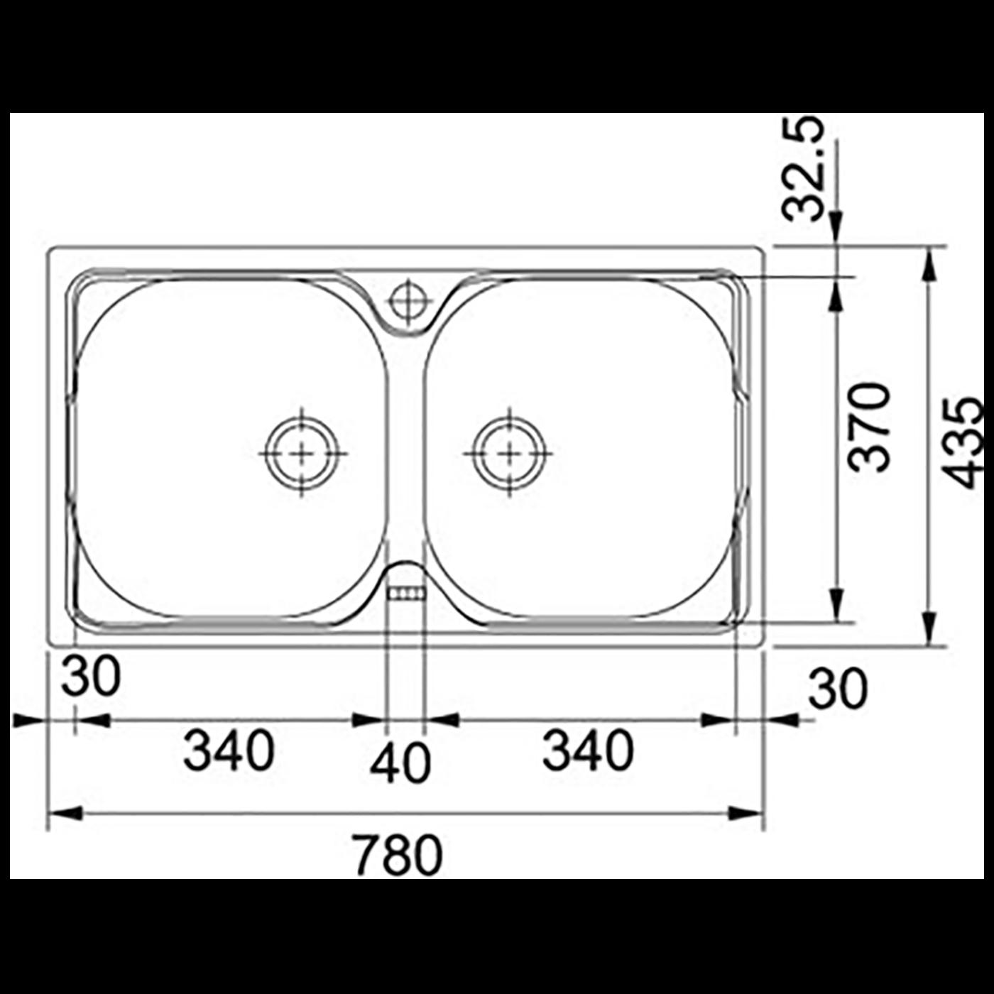 Sudoper ugradbeni, 780x435, INOX